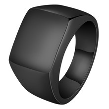 Punk Men Ring Square Big Width Signet Rings Fashion Male Black Finger Stainless Steel Jewelry