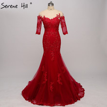 Red Half Sleeves Photography Mermaid Evening Dresses Appliques Beading Sexy Evening  Gowns Beading 2018 Real Photo 184169614814