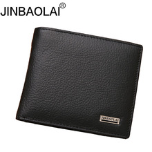 Фотография JINBAOLAI Genuine Leather men wallets Coin Purse Male Cuzdan Small Walet Portomonee PORTFOLIO Slim Mini Perse Vallet Money Bag a