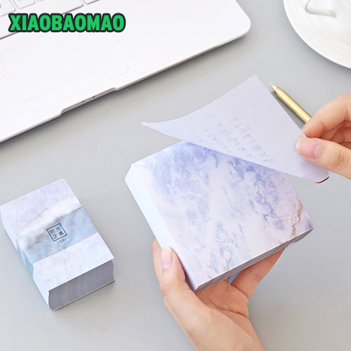 thick! 400 sheets! Pretty Marble Notepad Self Memo Pad Post It Note Cute Kawaii Paper 100x100mm 55x80mm 2018 pet transparent sticky notes and memo pad self adhesiv memo pad colored post sticker papelaria office school supplies