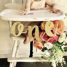 반짝이 한 배너 편지 화환 아기 1 생일 의자 갈 랜드 플래그 첫 번째 생일 1 생일을위한 골드 한 멧새 배너