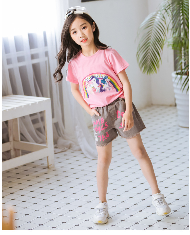 Lanbaiyijia white horse print t shirt kids Cartoon summer Clothes casual Cotton tshirt girl tops Fashion Tees New Arrival ...