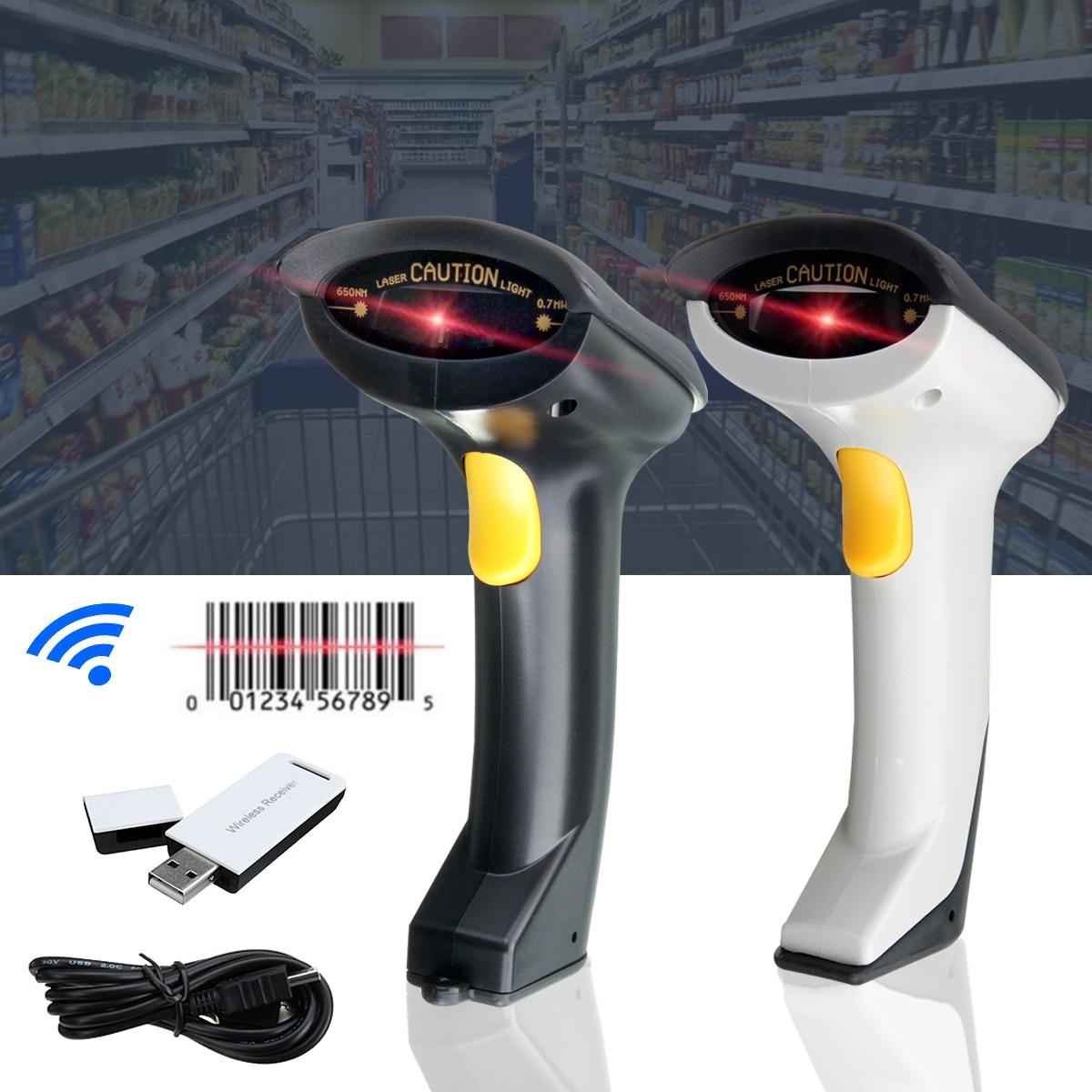 Портативный 2,4 ГГц Беспроводной сканера штриховых кодов ручной сканер USB Автоматический Лазерный сканирования штрих-кодов сканирования пи...