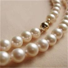Eternal wedding Women Gift word 925 Sterling silver real natural big new Solid  CL 8-9MM White Akoya Pearl Neckl