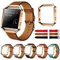 SimpleStone Luxo Couro Genuíno Watch band alça de Pulso + Armação de Metal Para Fitbit Chama Relógio Inteligente June17