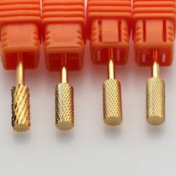 Gold Tungsten Round Flame Nail Drill Bit Carbide Milling Cutter Manicure Ceramic Drill Bits Electric Machine Nail Accessories