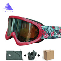 VECTOR Brand Children Girls Boys Ski Goggles Set Double Lens UV400 Anti Fog Snow Skiing Glasses