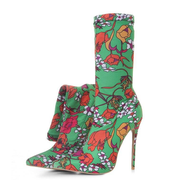 Plus Haute Talon Femme Taille Personnaliser Cm Talons Furtado on La Extreme Stilettos Stretch 12 Bottes Fleurs Chaussures Femmes Mode Green Arden Slip f6gyb7