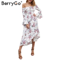 BerryGo Off Shoulder Summer Long Dress Women Floral Print High Waist Irregular Dress Elegant Boho Dress