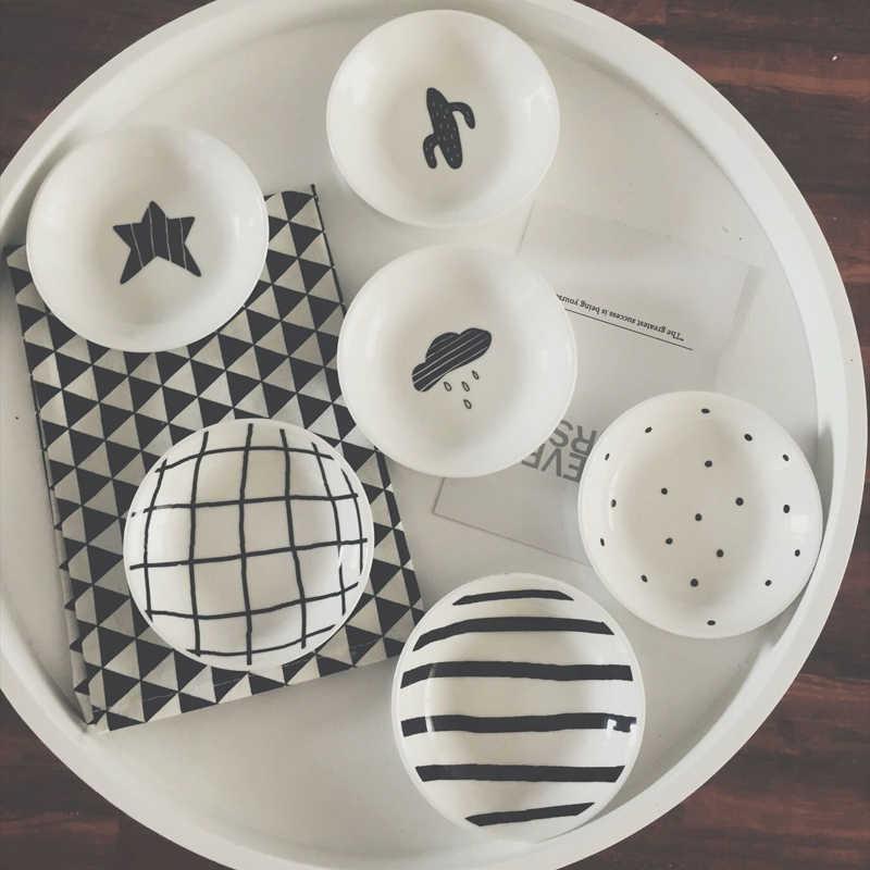 Мини-блюдо кактус звезда белая черная керамика пластина приправа уксус, соевый соус тарелки конфеты красочные милые блюда кухонный инструмент 3 шт