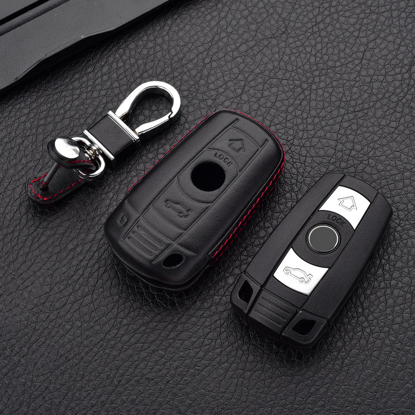 MICOCHE 3D Leather Key-Shape Car Key Case Cover For BMW X1 X3 X4 X5 X6 3 5 4 7 Series E36 E87 E90 E91 320i 325i 525i 535i