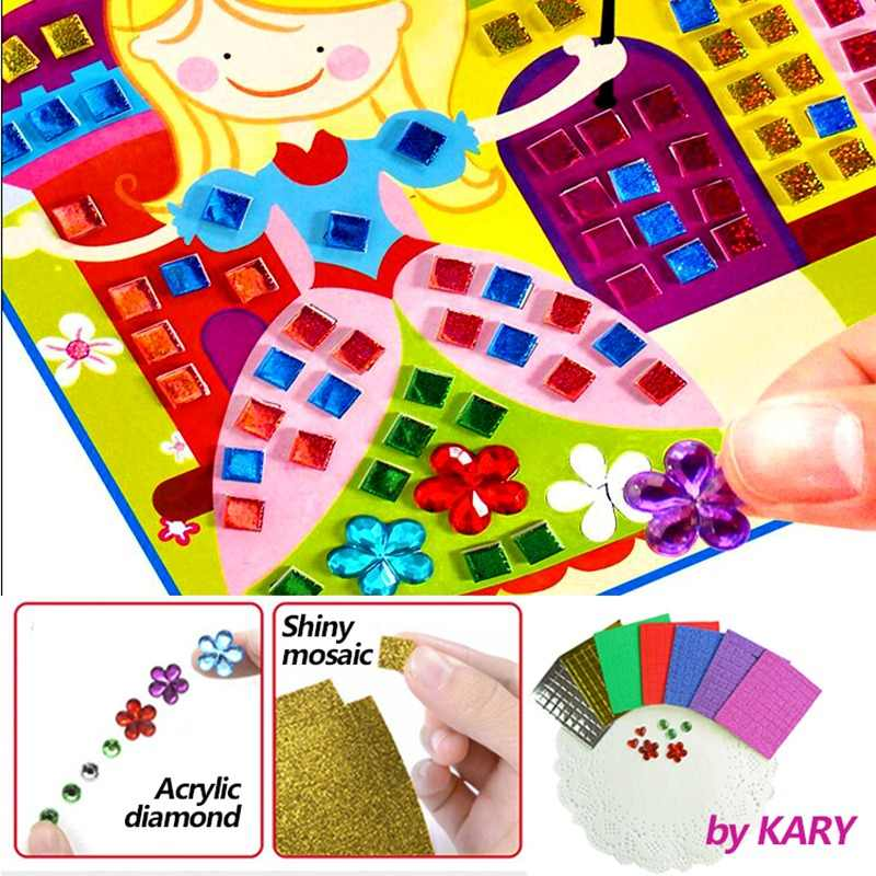 3D Crystal Acrylic Puzzle DIY Mosaic Foam EVA Stickers Handmade Art Cartoon Creative Educational Toys For Children Can Select