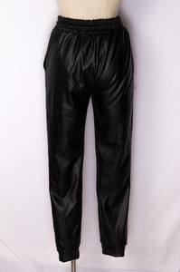 Image 3 - ファッション黒フェイクレザージョギング女性緩いジョガーパンツヒップホップストリート摩耗ハーレムパンツ女性