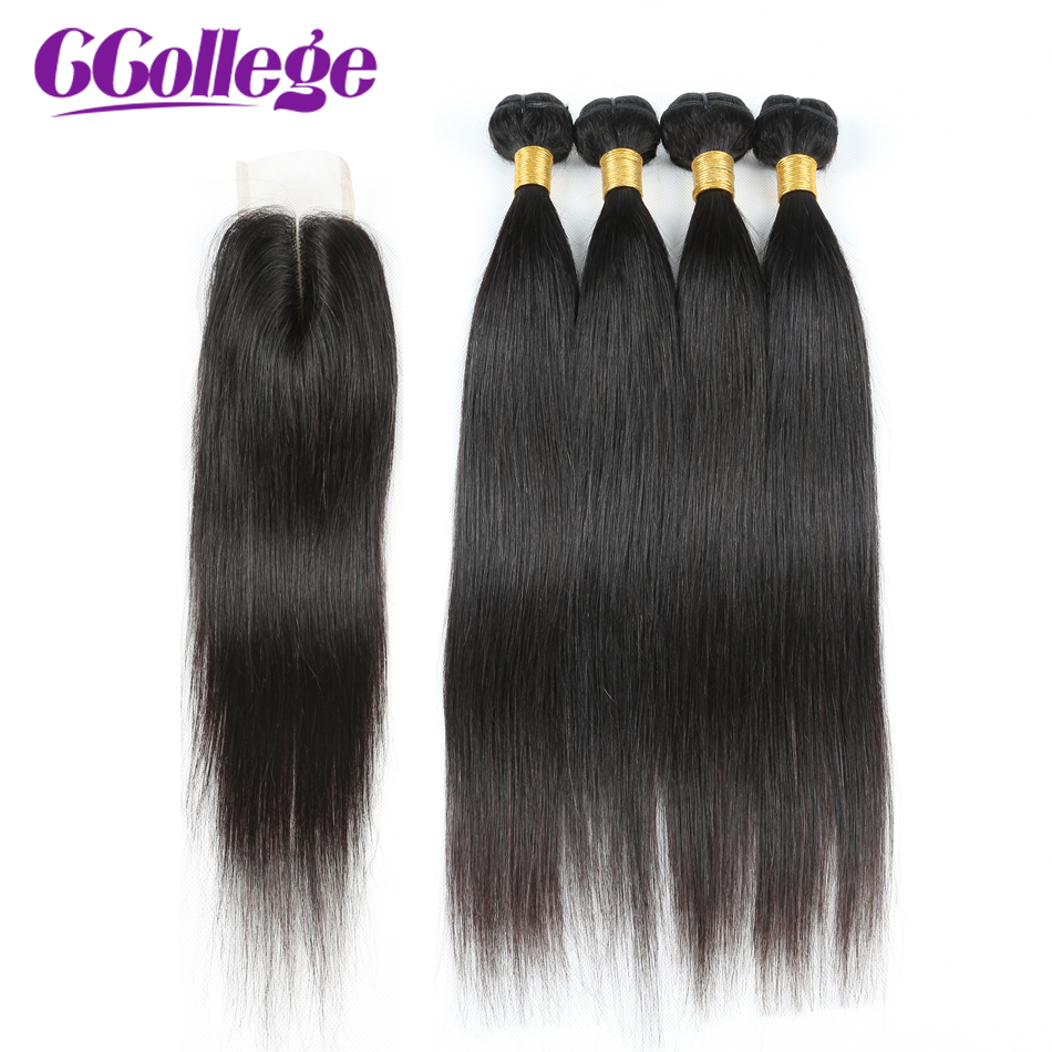 Peruvian Hair Bundles And Closure Non remy Human Hair Weave Bundles With Lace Closure CCollege Straight