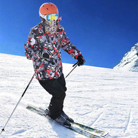 Зимние Для мужчин; лыжный костюм Водонепроницаемый Теплая Лыжная куртка + лыжные Брюки для девочек сноуборд куртка Лыжный Спорт Мотобрюки Д