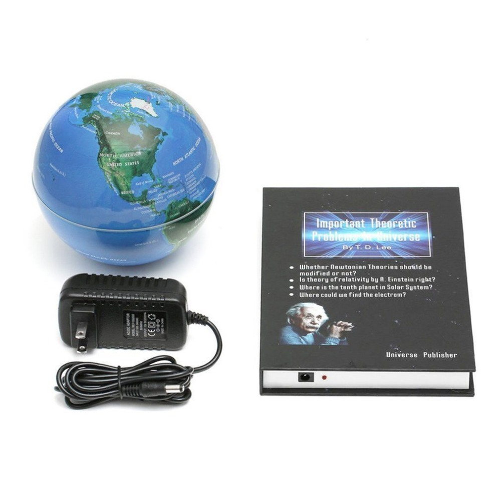 Innovantes 3 pouces Livre Magnétique Lévitation Flottant Anti Gravité Globe Carte Du Monde Magnétique Tournant Globe Décoloration