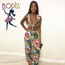 FLODISS Sexy Bow Bra Loose Pants Women 2 Two Piece Set 2018 Summer Floral  Clothing 4953d8eb9e8a