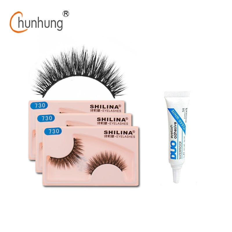 SHILINA 3 Pair/lot False Eyelashes Natural Long Fake Lashes Black False Eye Lashes Free Gift Duo False Eyelash Glue 9 Style