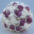 Ribbon Bride Bouquet Pearl Rhinestone Bride Hand Hold In Both Hands Bouquet Marry Decoration 18 Centimeter WB002
