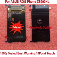 100% Original AMOLED LCD Display Touch Screen Panel Digitizer Assembly Sensor For 6.0 ASUS ROG Phone ZS600KL Mobile Parts