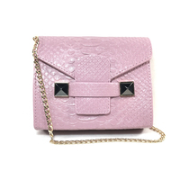 Women Bag Pink Python Small Chain Bag Shoulder Bags Women Pu Leather Handbags Mini Bag Women