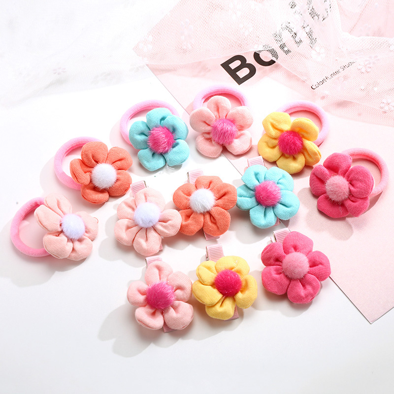 Cute Faux Fur Ball Flower Elastic Hair Bands Little Girls Lovely Ponytail Holder Rubber Bands Hair Clips Kids Hair Accessories metting joura vintage bohemian ethnic tribal flower print stone handmade elastic headband hair band design hair accessories
