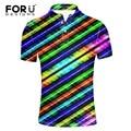 FORUDESIGNS Rainbow Color 3D Men's Polo Shirt Brands 2017 Summer Short Sleeve Polos Striped / Plaid Polo Ralphmen Pol Shirt