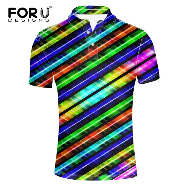 FORUDESIGNS Rainbow Color 3D Men's Polo Shirt Brands 2017 Summer Short Sleeve Polos Striped / Plaid Polo Ralphmen Pol Shirt