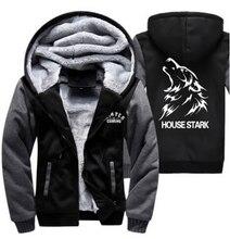 New Thicken Hoodie US Size Game of Thrones Direwolf Ghost House of Stark Jacket Sweatshirts Zipper Coat for MEN WOMEN