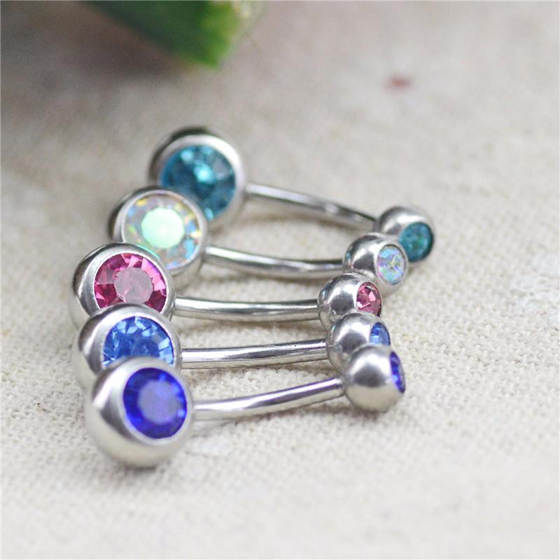 HTB1X89WKpXXXXaCaXXXq6xXFXXXy Charming Gem-Studded Silver Bar Ball Navel Button Ring For Women - 10 Colors