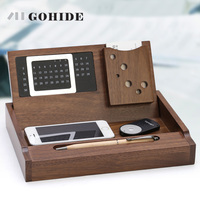 JUH Gohide Luxury Office Storage Box Wooden Desktop Stationery box Maple Organizer with Calendar Pen Loop Name Card Holder ZLCP