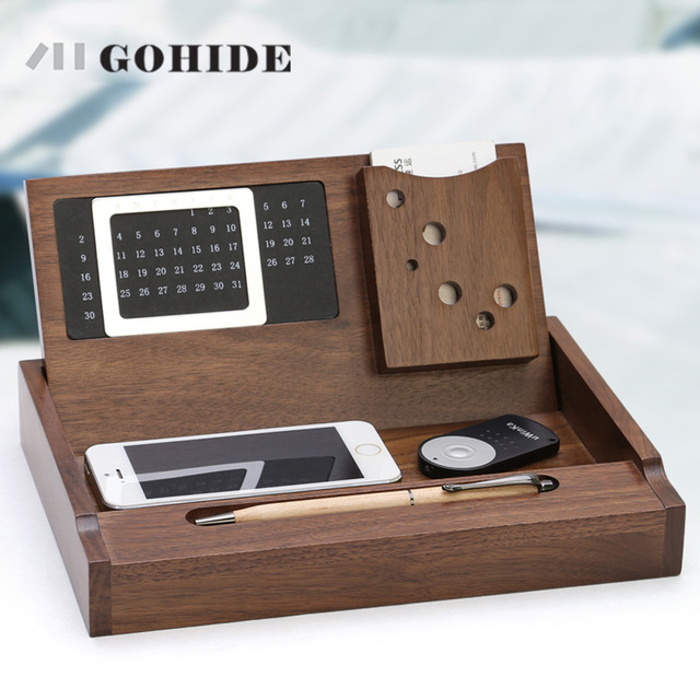 JUH Gohide Luxury Office Storage Box Wooden Desktop Stationery Box Maple  Organizer With Calendar Pen Loop