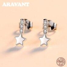 925 Sterling Silver Earrings Small Star Stud Earrings For Women Korean Earrings Jewelry Gifts cute long chain silver stud earrings with bling zircon stone for women fashion jewelry korean earrings 925 silver