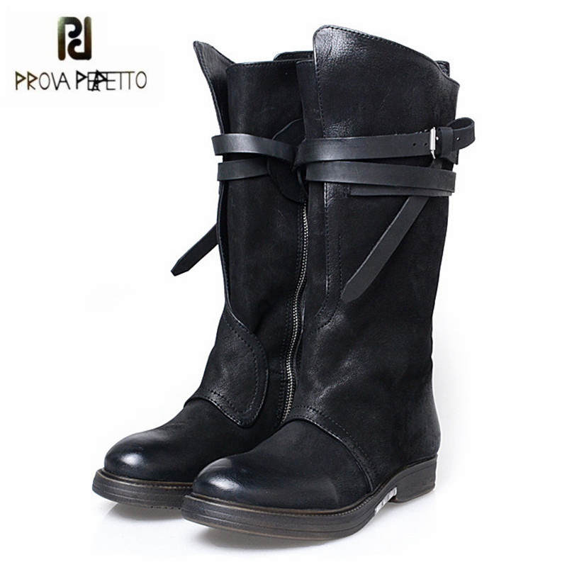 Prova Perfetto Fashion Black Women Knee High Boots Female Genuine Leather Straps High Boots Flat Platform Rubber Shoes Woman prova perfetto new hot women martin boots autumn round toe flat platform shoes woman lace up female genuine leather ankle boots