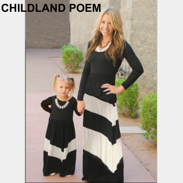 2016 autumn spring mother and daughter dresses cotton long sleeve family matching clothes family like mother daughter clothes