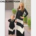 2016 otoño primavera vestidos de algodón de manga larga familia madre e hija ropa a juego familiar como madre e hija ropa