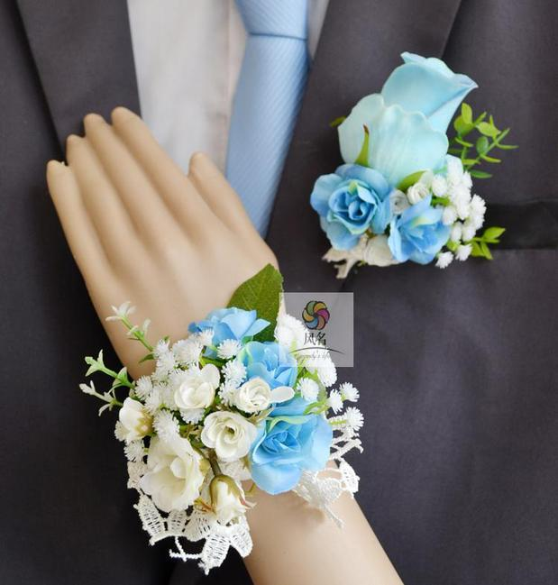 Medical & Mobility Handmade Corsages Blue Rose Bridal Wedding Supplies Groom Boutonniere Bride Bridesmaid Hand Wrist Flower Artificial Flower Fs101