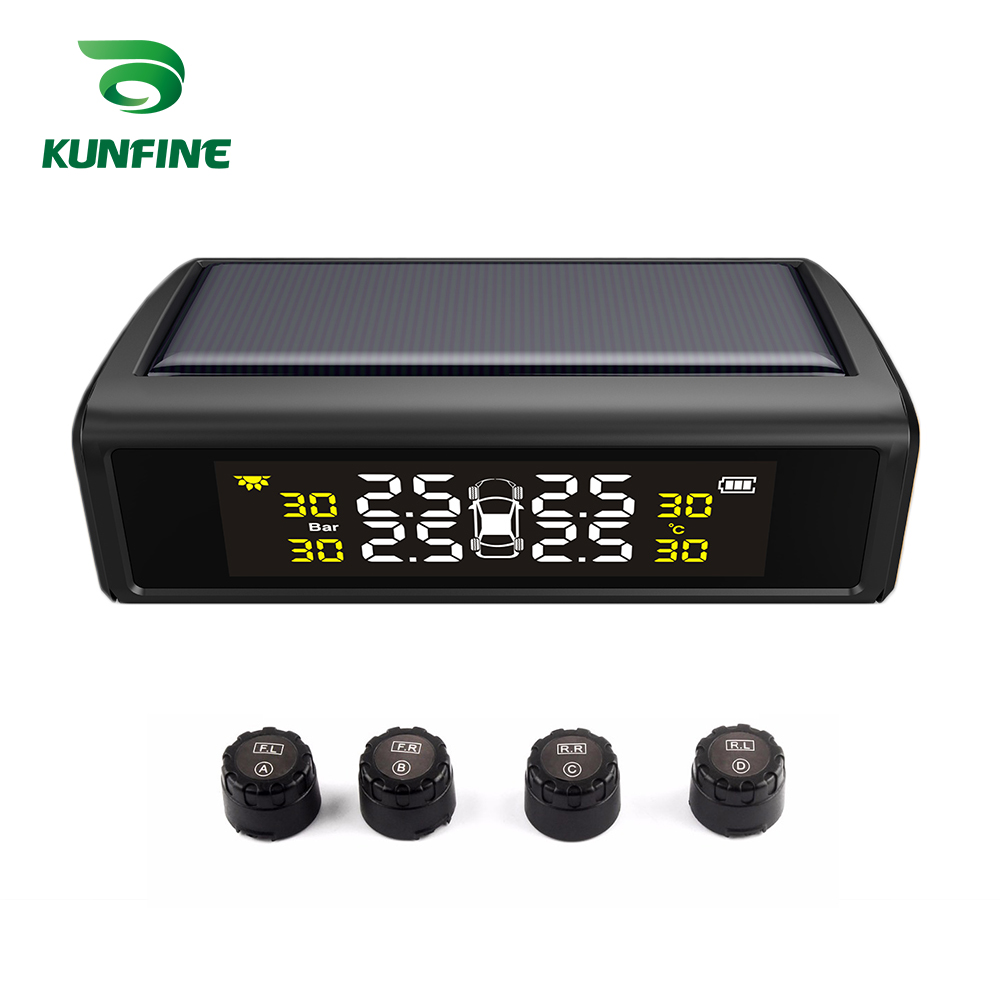 KUNFINE Smart Car TPMS Tyre Pressure Monitoring System Solar Energy TPMS Digital LCD Display Auto Security Alarm Systems аксессуары для автомобильных шин gzautopart auto tpms oem 4l2t 1a150 tpms 315