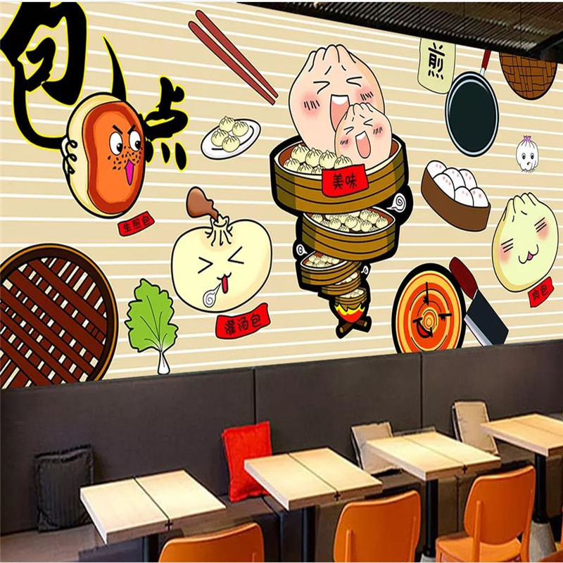 Custom Wallpaper Mural Hand-painted First Night Dumplings Restaurant Background Decorative Wall High-grade Wall Covering