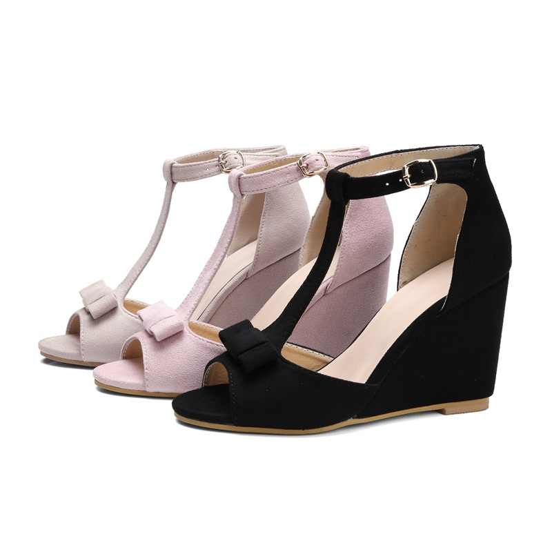 MoonMeek 2020 nueva llegada sandalias de mujer moda flock t-strap cuñas zapatos simple bowknot señora zapatos de verano calzado femenino