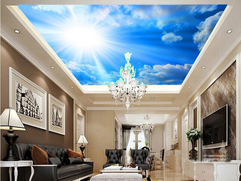 Papel de parede photo 3d fantasy sky blue sky ceiling for Ceiling mural wallpaper