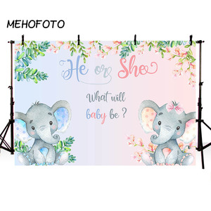 Image 2 - MEHOFOTO Elephant Baby Shower Photo Background Boy or Girl Gender Reveal Party Animals Decorations Photography Backdrops