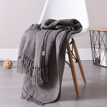 Simple Style Solid Tassel Decor Waffle Blanket For Bed Sofa Couch Living Room Home Decorative Throw Blanket 130X160cm cobertor