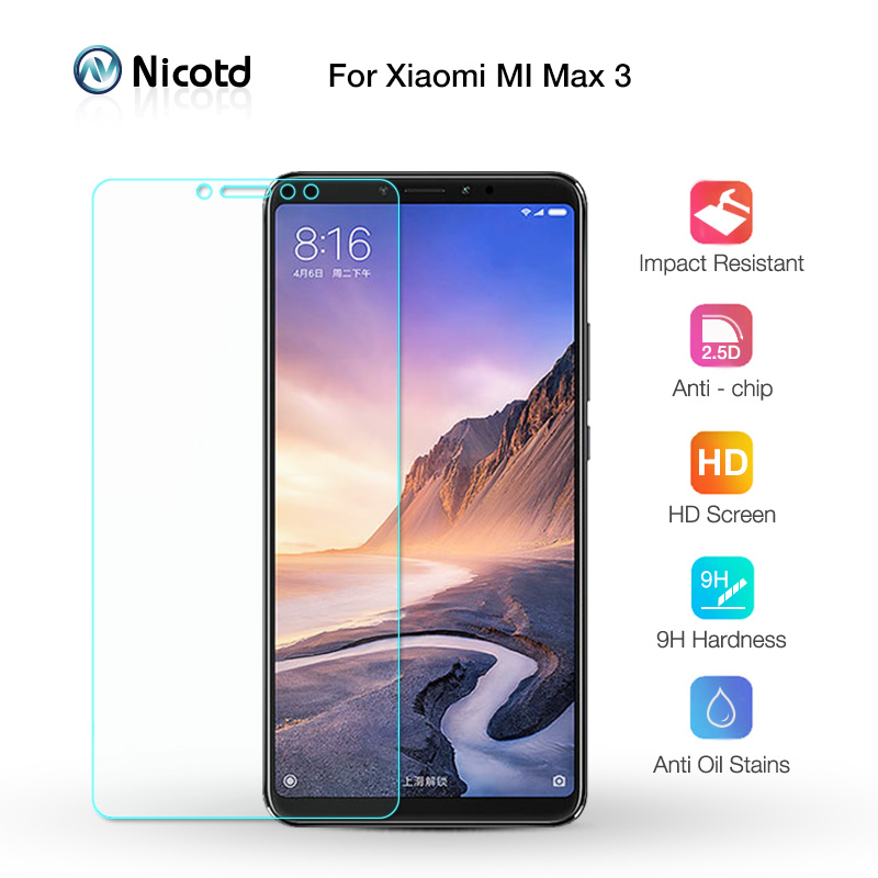 Nicotd Tempered Glass For Xiaomi Mi MAX 3 Screen Protector 9H 2.5D Phone On Protective Glass For Xiaomi Mi MAX 2 1 mimax filmNicotd Tempered Glass For Xiaomi Mi MAX 3 Screen Protector 9H 2.5D Phone On Protective Glass For Xiaomi Mi MAX 2 1 mimax film