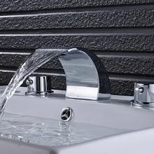 Хромированный, полированный для ванной комнаты раковина смеситель с двумя ручками Смеситель кран Водопад Носик твердая латунь кран