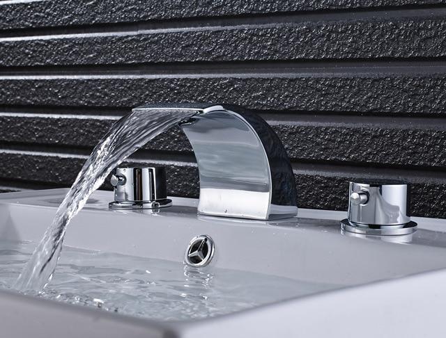 Chrome gepolijst badkamer wastafel kraan dubbele handgrepen