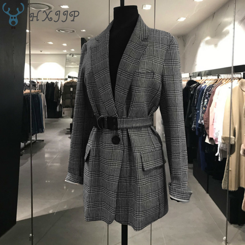 HXJJP 2019 Spring New Korean Women's Retro Plaid Small Suit Jacket Women Tie Suit Casual  Sashes  Single Breasted Blazers