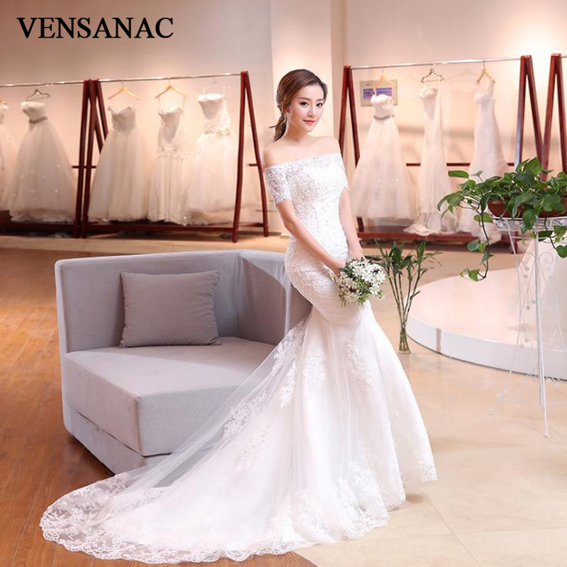 VENSANAC 2018 Sequined Boat Neck Lace Appliques Mermaid Wedding Dresses Short Sleeve Sweep Train Backless Bridal Gowns