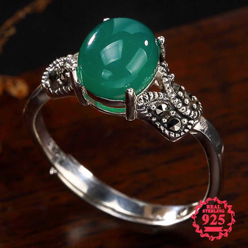 ไม่ปลอม S925 Fine Antique shop แหวนแหวนมรกต Luxury Taste หยก Art Fine Handmade Vintage ธรรมชาติ Chalcedony moldavite peridot