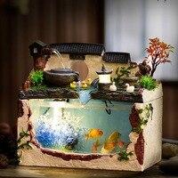 Тропический Рыба Аквариум чаши нано резервуар воды мельница фонтан с легкий насос искусственные растения Desktop офис украшения дома